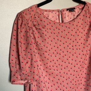 Ann Taylor coral patterned short sleeve blouse XS